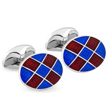 Sterling Silver Maroon & Navy Checked Cufflinks