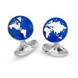 Sterling Silver World Cufflinks