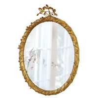 Strawberry Jewel Oval Mirror, Gold Leaf
