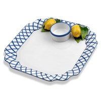 Blue Trellis with Lemons Chip & Dip