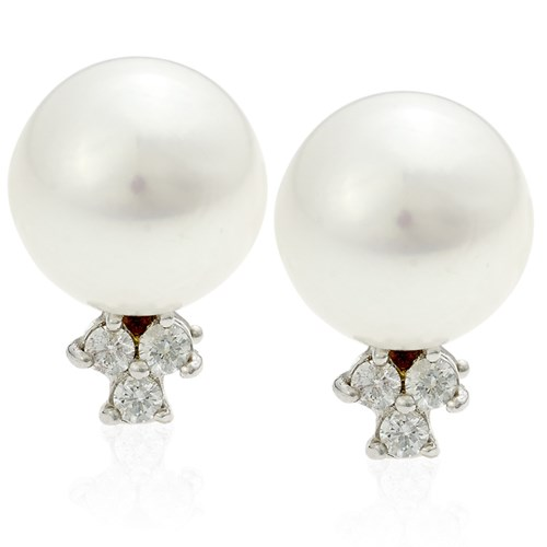 18k White Gold Pearl Earrings with Diamonds