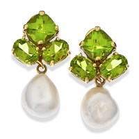 Triple Peridot Earrings with Pearl Drop