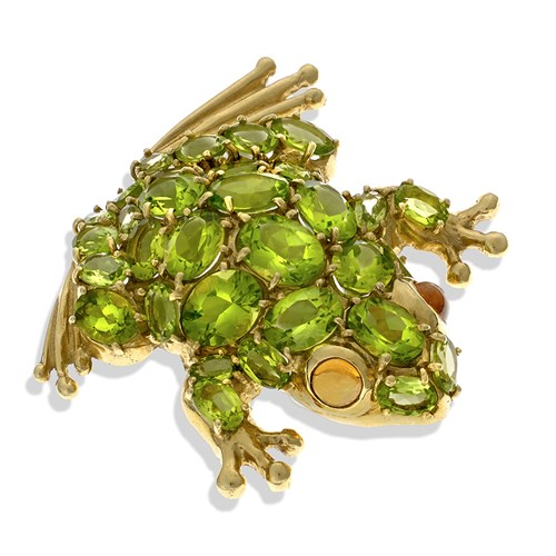 18k Yellow Gold Frog Pin Peridot with Citrine Eyes