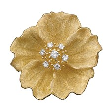 18k Gold Textured Flower Pin with Diamonds