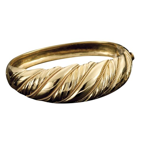 18k Yellow Gold Swirl Banded Bangle with Chain