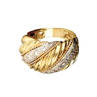 Swirl Banded Gold with Diamonds Ring