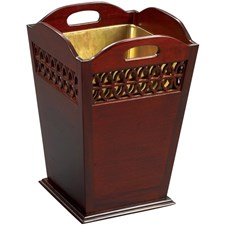 Mahogany Wastebasket with 1-line Fret Slanted Sides