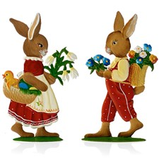 Pewter Girl and Boy Bunnies Figurines, Set of Two