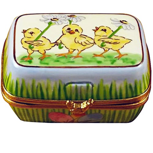 Egg Crate with Chick & Eggs Limoges Box