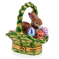 Rabbit & Eggs in Basket Limoges Box