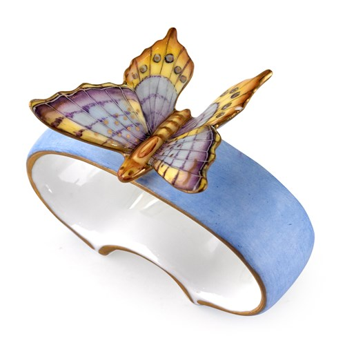 Anna Weatherley Blue Porcelain Napkin Ring Butterfly