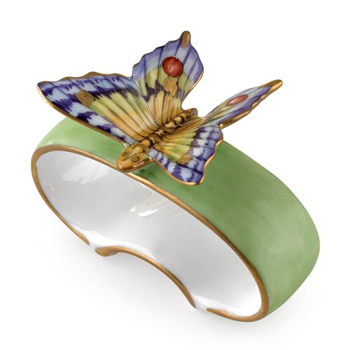 Anna Weatherley Green Porcelain Napkin Ring Butterfly