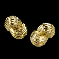 18k Yellow Gold Double Swirl Earrings, Posts