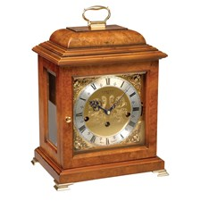Walnut Basket Mantel Clock
