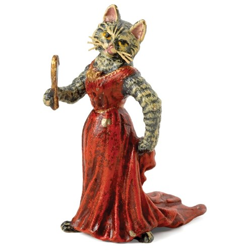 Austrian Bronze Cat Lady in Red Dress with Mirror