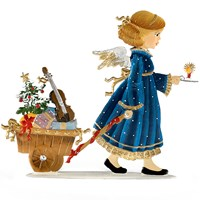 Pewter Angel Pulling Gift Wagon