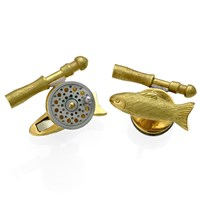 18k Gold Fishing Rod & Reel Cufflinks