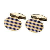 18k YG & Enamel Engine-Turned Cufflinks