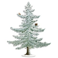 Pewter Pine Tree with Snow, Squirrel & Bird