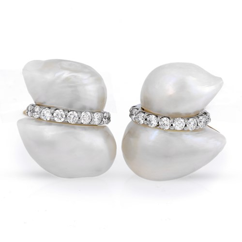 18k White Gold Peanut Pearl Earrings with Diamond Band