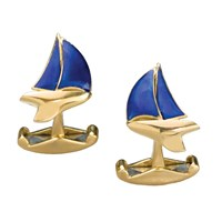 18k Gold & Blue Enamel Yacht Cufflinks