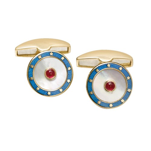 18k Gold Mother of Pearl, Ruby & Blue Enamel Cufflinks