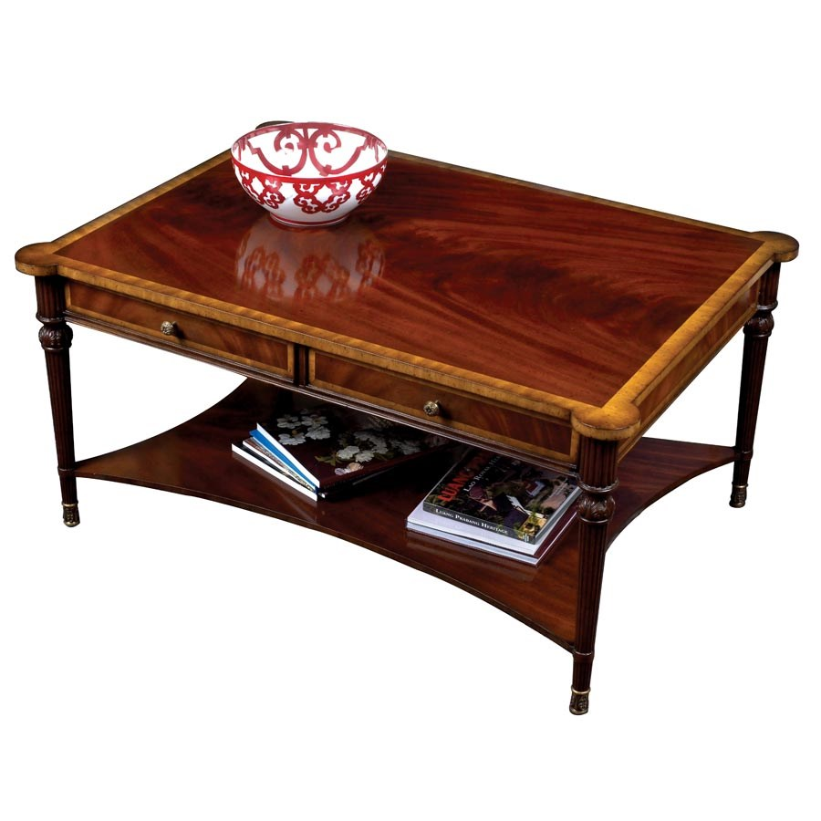 Mahogany cocktail table with four drawers coffee tables for Mahogany coffee table set