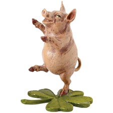 Bronze Pig Dancing on Four-Leaf Clove