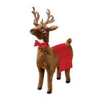 Natural Reindeer Footrest with Velvet