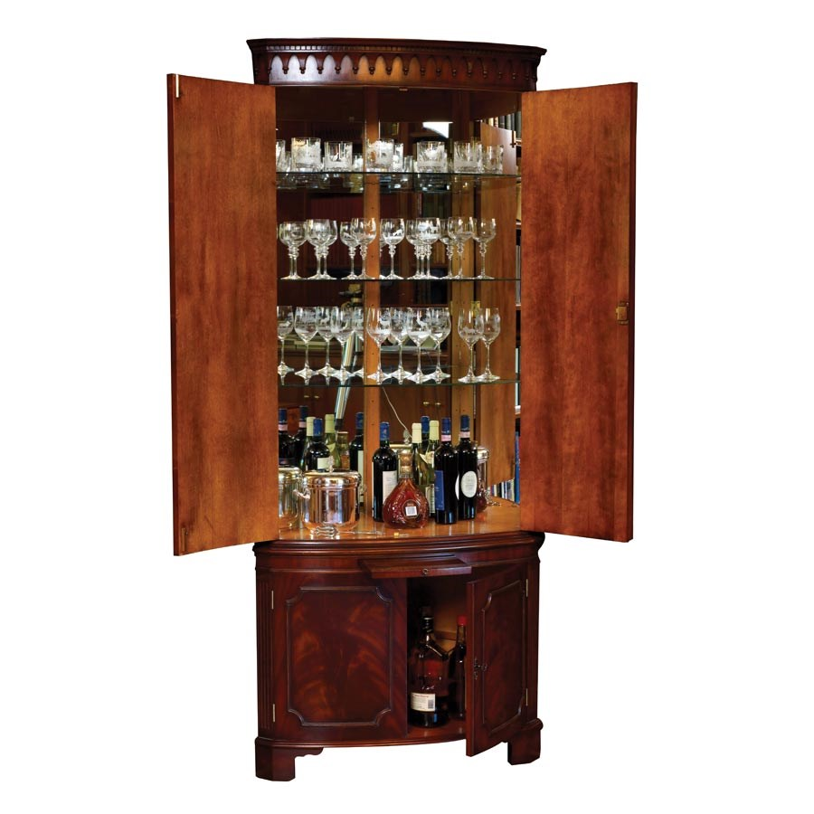 Mahogany Corner Cocktail Cabinet. Hover To Zoom