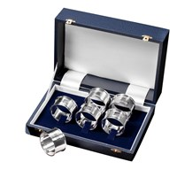 Sterling Silver Engine-Turned Napkin Rings Boxed Set of Six