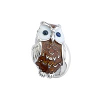 Sterling & Vitreous Enamel Owl Cufflinks