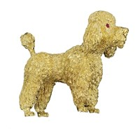 18k Gold Poodle Pin with Ruby Eyes
