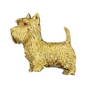 18k YG Scottish Terrier Pin Ruby Eyes