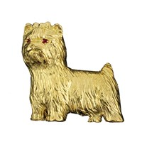 18k Yellow Gold Yorkshire Terrier Pin Ruby Eyes