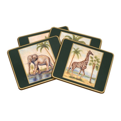 African Animals Coasters, Set of Four