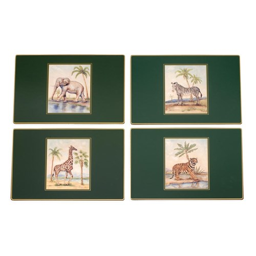 African Animals Continental Placemats, Set of Four