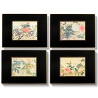 Chinese Flowers Placemats, Set of Four Black
