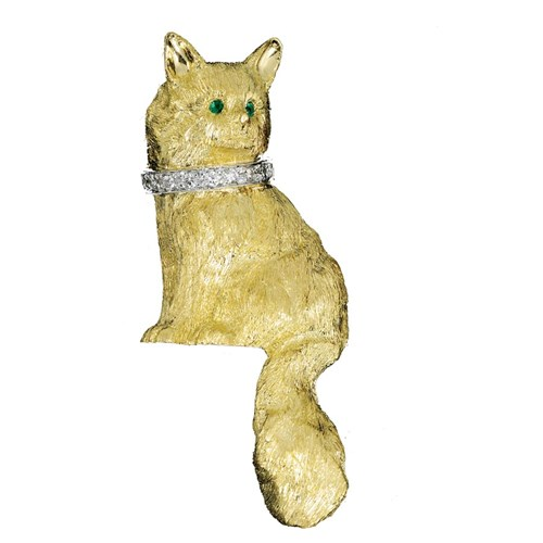 Angora Cat Pin with Yellow Gold & Diamonds