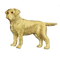 18k Gold Labrador Pin with Ruby Eyes