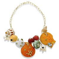 18k Gold Multi-Stone Shell Necklace