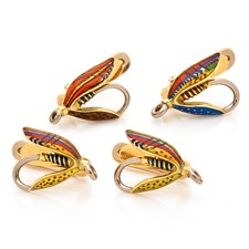 Enamel Fish Fly Studs Set of Four