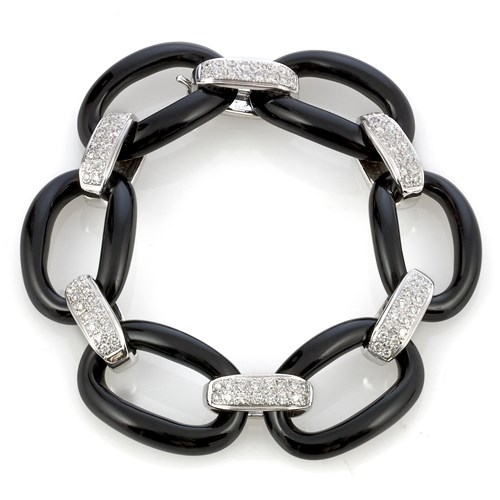 18k White Gold  Onyx Link and Pave Diamond Bracelet