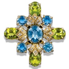 18k Gold Maltese Cross Pin / Pendant