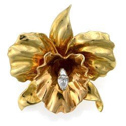 18k Gold Orchid Pin with Diamond