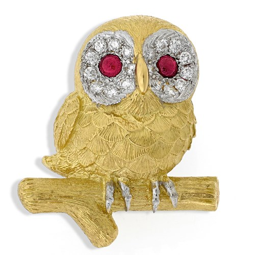 18k Gold Owl Pin on Branch with Rubies and Diamonds