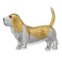 18k Yellow and White Gold Basset Hound with Ruby Eyes