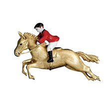18K Gold & Enamel Horse and Rider Pin