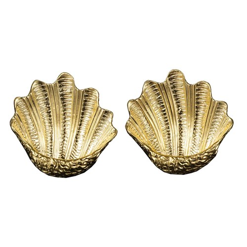 18k Gold Ribbed Scallop Shell Earrings, Clips Only
