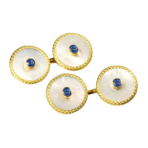 18k Gold Mother of Pearl & Sapphire Round Cufflinks